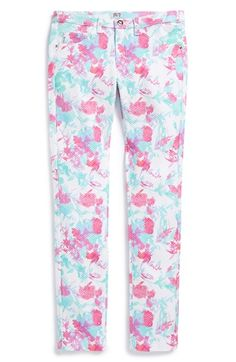 Armani Junior Textured Floral Slim Fit Pants (Big Girls) available at #Nordstrom