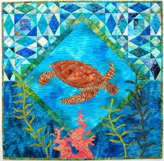"""The Protector"", 28.5 x 28.5"", wall hanging pattern with storm-at-sea setting by Barbara Bieraugel Designs"