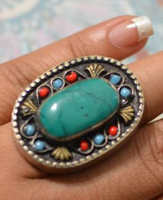 Check out this item in my Etsy shop https://www.etsy.com/listing/235873470/turquoise-afghan-rings-statement