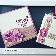 sweet sugarplum ( a new in colour from Stampin Up) and Swirly Scribbles dies (another new product)   Sweet Sugarplum Card The card is a massive 6 x 6 inches – and has a base layer of Sweet Sugarplum …