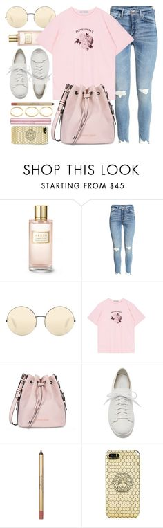 """""""Countdown"""" by monmondefou ❤ liked on Polyvore featuring Estée Lauder, Victoria Beckham, Armani Jeans, Santoni, Versace and Pink"""