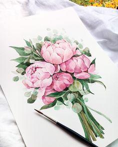 ⓒ2018.김요고.All rights reserved. . 괴물하고 싸우지마. 그러다 너도 괴물이 될 수 있으니까. 심연을 한참 동안 들여다보면 심연이 너를 들여다본다잖니. . 할머니가 미안하다고 전해달랬어요 / 프레드릭 배크만 . . . . .… Watercolor Artwork, Watercolor Illustration, Watercolor Flowers, Watercolour, Peony Painting, Painting & Drawing, Graphic Design Lessons, Botanical Wall Art, Flower Art