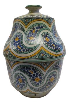 Moroccan Glazed Terracotta Jar Hand Painted Lidded Vase Multi-Colored Arabesque #Handmade #Mediterranean