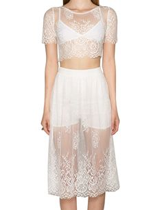 White Lace Crop Tops - Matching Separates - Two Piece Dress