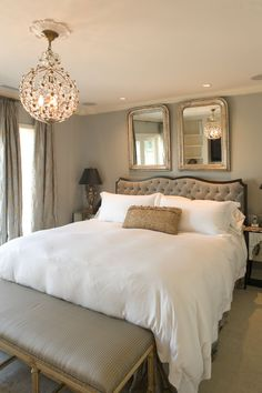 I love the idea of using mirrors over the headboard. 5 Appealing Bedroom Designs