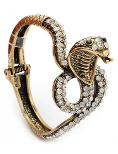 BURNT GOLD CRYSTAL SNAKE LADIES FASHION HINGED BRACELET - Unusual Bracelets - Bracelets - Jewellery