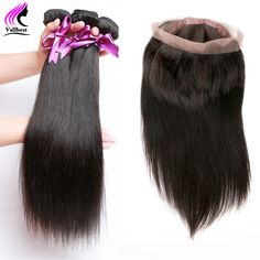 Peruvian Straight Virgin Hair With Frontal Closure 3 Bundles Straight Hair With Closure 360 Lace Frontal Closure With Bundles //Price: $153.40 & FREE Shipping // #hairextension #style #beauty #woman #love