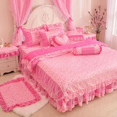 Grils Lace Rose Pink And White Princess Ruffled Bowtie Bedding-Girls Lace Bedding Pink Bedroom Decor, Girls Bedroom, Hot Pink Bedrooms, Pastel Room, Pink Room, Cotton Bedding Sets, Pink Bedding, Bed Sets, Bed Cover Design