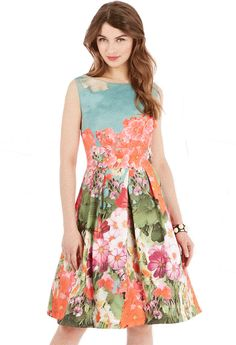 Orange Blue Sleeveless Backless Floral Pleated Dress $58.5