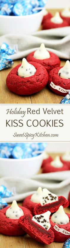Holiday Red Velvet Kiss Cookies are delicious cookies made with Cookies 'n Cream Hershey's Kisses great for New Year's Eve, Christmas or Valentine's Day ♥