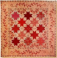 Explore the use of the house motif in the featured nine-block quilt by Barb Adams and Alma Allen in Home Sweet Home. The home is a symbol in American folk art and is featured in these quilts. Blackbird Designs, Star Quilt Blocks, Star Quilts, Appliqué Quilts, Antique Quilts, Vintage Quilts, Country Quilts, Quilt Border, Sampler Quilts