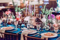 New Wedding Table Settings Bohemian Jewel Tones Ideas Reception Party, Reception Decorations, Mark Ballas Wedding, Trendy Wedding, Our Wedding, Green Wedding, Wedding Shoes, Vintage Gold Mirror, Gold Mirrors