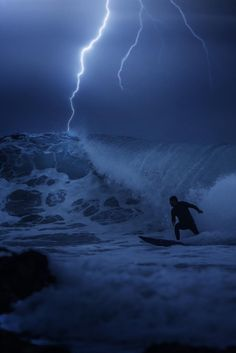surfing in the storm.. probably photoshopped but cool