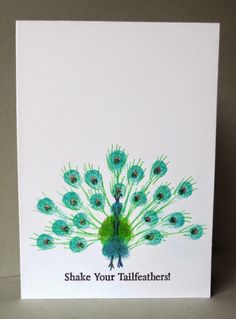 handmade card from Craftilicious ... Less is More challenge to adapt a a fingerprint ... peacock with fingerprint tail feather array  .. one layer ... cute ...