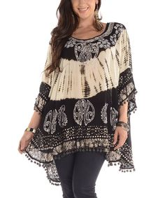 Another great find on #zulily! White & Black Tie-Dye Swing Tunic - Plus #zulilyfinds