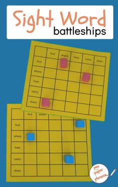 Sight Word Battleships for Word Recognition - Pen and Paper Phonics