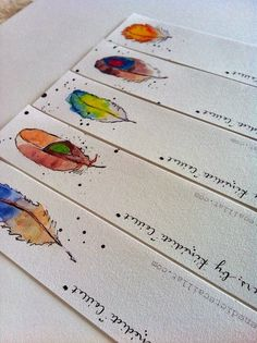 Feather Bookmarks, Set of from original watercolor illustrations by PebbleandBee, via Etsy. Watercolor Bookmarks, Watercolor And Ink, Watercolor Paintings, Watercolours, Creative Bookmarks, Diy Bookmarks, Crochet Bookmarks, Feather Illustration, Illustration Art