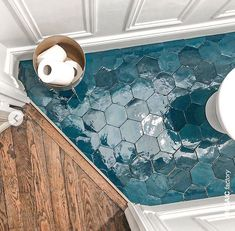 street flooring Bathroom floor with teal hexagon ZELLIGE tiles from Mosaic Factory. in colour Price is 139 per Visit our website to see all available shapes, sizes and colours of the zellige collection! Regram and bathroom remodel from Style At Home, Interior And Exterior, Interior Design, Bathroom Inspiration, Bathroom Ideas, Zebra Bathroom, Mosaic Bathroom, Bathroom Flooring, Vintage Bathroom Tiles
