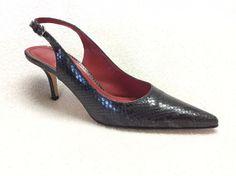 Coach 8B Alena Black Snake Skin Slingback Heels | eBay