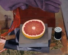 """Susan Jane Walp Grapefruit Half with Spool of Thread and Red Ribbon  1996 oil on linen 9x11"""""""