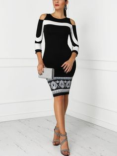 Shop Cold Shoulder Colorblock Insert Dress right now, get great deals at pickmyboutique Black Women Fashion, Womens Fashion, Chanel Fashion, Casual Elegance, Lee Min, Pattern Fashion, Sleeve Styles, Color Blocking, Going Out