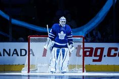 TORONTO, ON - APRIL 2: Curtis McElhinney #35 of the Toronto Maple Leafs stands in net during player introductions before playing the Buffalo Sabres at the Air Canada Centre on April 2, 2018 in Toronto, Ontario, Canada. (Photo by Mark Blinch/NHLI via Getty Images)
