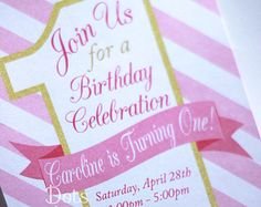 Pink Butterfly Invitation-Butterfly Invite-1st by DotsAndGingham