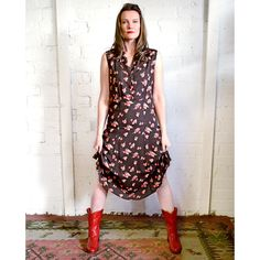 Loco Lindo Vintage Inspired Dresses  - Sleeveless - Knee Length - Espresso Cherry - French Rayon Crepe