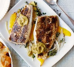 Baked lemon sole with lemon & caper paste is part of Baked Sole With Lemon Salu Salo Recipes - Small whole fish like lemon or Dover sole make perfect individual portions in this special seafood supper for two Sole Recipes, Fish Recipes, Seafood Recipes, Small Food Processor, Food Processor Recipes, Bbc Good Food Recipes, Bbc Recipes, Meal Recipes, Kitchens