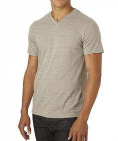 Men's Heather Grey Everyday V-Neck Tee made with Fair Trade Certified organic cotton!  #FairTrade #organic #apparel
