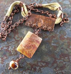 Saffron and Cinnamon Stone Pendant with Antiqued by lunedesigns