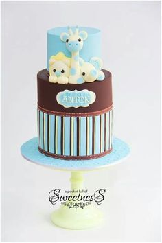 Blue and brown jungle baby shower cake