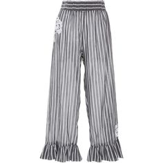 Lila Eugenie      Jesi lace-appliqued striped pants ($265) ❤ liked on Polyvore featuring pants, stripe, striped pants, stripe pants, striped trousers, lace trousers and lace pants