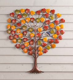 Enjoy colorful fall foliage any time of year with this beautiful metal Tree and Birds Metal Wall Art! Each indoor/outdoor wall hanging is handmade and richly… Metal Tree Wall Art, Metal Art, Tree Wall Decor, Art Decor, Painting Shower, Popular Crafts, Tropical Decor, Unique Home Decor, Metal Walls