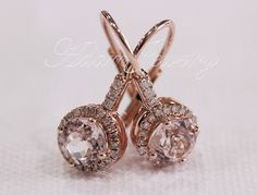 VS Morganite Earring Pave Diamonds/ 14K Rose Gold/ by AdamJewelry, $539.00 - These would be fantastic wedding day earrings!