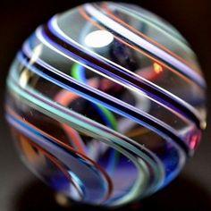 "JODY FINE GLASS MARBLE/1.551""-PURPLE MIDNIGHT LATTICINIO-ROYAL,PURPLE,PINK,OXBL."