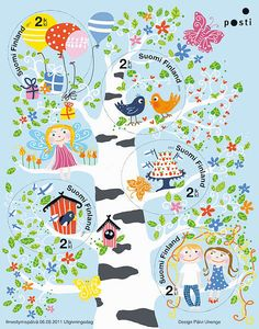 Onnenpuu - viiden postimerkin pienoisarkki (2011)