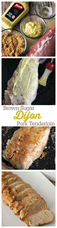 Brown Sugar Dijon Pork Tenderloin - the easiest recipe ever! Make with roasted cabbage with dijon sauce. The glaze is a mouthwatering blend of Dijon mustard and brown sugar that is sweet & savory! Pork Recipes, Cooking Recipes, Easy Pork Tenderloin Recipes, Chicken Recipes, Cooking Games, Healthy Recipes, Cooking Classes, Recipies, Mustard Pork Tenderloin