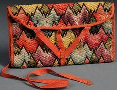 Pocketbook; Needlework, Irish Stitch, Zigzag Diamond Pattern, William B Property, 1794, 8 inch.