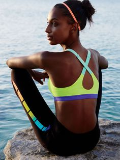 colorful halter sports bra with workout leggings