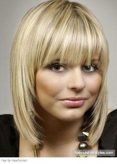 Glam Medium Hair with Blunt Bangs