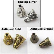25Pcs Tibetan Silver Gold Bronze Triangle Speaker End Bead Caps 8.5x11.5mm Craft