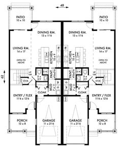 Fourplex townhouse house plan outside home decor for Fourplex design plans