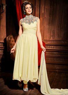 Buy online Cream Georgette Embroidered #PartyWear #SalwarKameez and get 35% off.