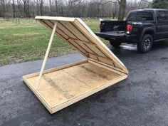 Click this image to show the full-size version. Diy Roof Top Tent, Diy Tent, Top Tents, Rooftop Tent Diy, Vw Camper, Bed Bar, Continuous Hinges, Best Ladder, Sanding Wood