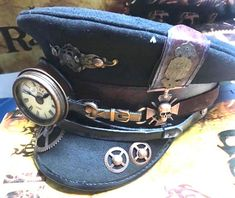 Steampunk - Steampunk Station Master Black wool military Hat with Monokel and copper skull badges in 3 sizes by SteamEraProduction Steampunk Boy, Style Steampunk, Steampunk Clothing, Steampunk Fashion, Steampunk Outfits, Black Women Fashion, Boy Fashion, Deconstruction Fashion, Military Costumes