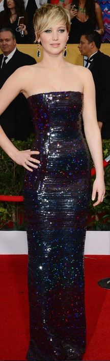 Who made Jennifer Lawrence's strapless sequin gown, jewelry, clutch handbag and shoes that she wore in Los Angeles on January 19, 2013?