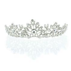22.99$  Buy here - http://vizva.justgood.pw/vig/item.php?t=y6huesl4067 - Kate Marie 'Inga' Rhinestone Crown Tiara Headband in Silver 22.99$