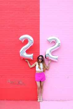 Birthday Photoshoot - Color Wall - Sugar and Cloth Wall - Houston Texas  - Foil Balloons - Balloons - Number Balloons