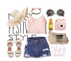 """Festival fashion"" by pinkxxsugar ❤ liked on Polyvore featuring Tabitha Simmons, Hollister Co., Eugenia Kim, Fujifilm, Jennifer Zeuner, coachella and festivalfashion"